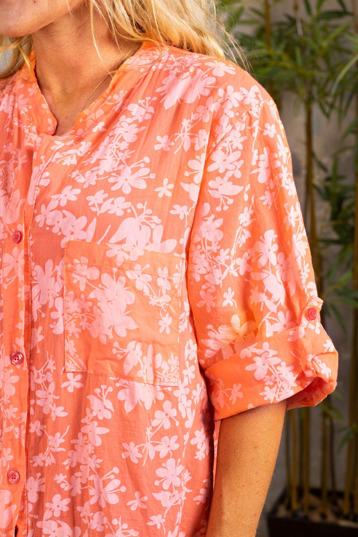 Penny lang skjorte - Blomster - Mandarin
