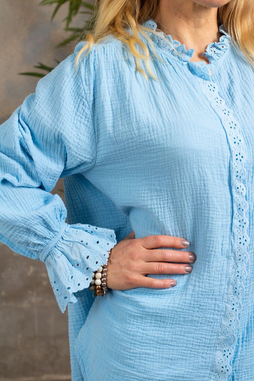 Petra-bluse - Blonder - Sky blue