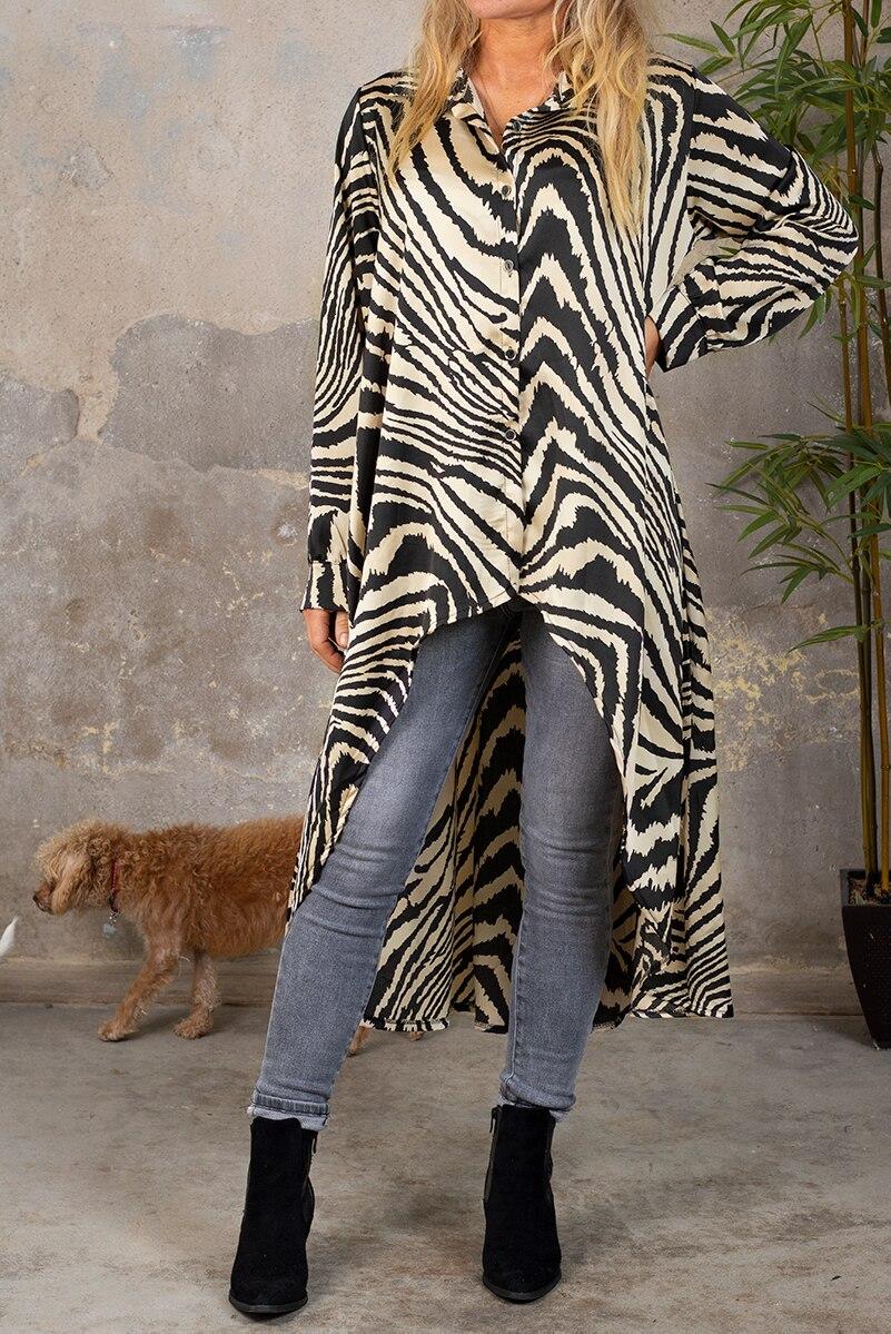 Phoebe Lang sidenskjorta - Zebra - Beige hel 2