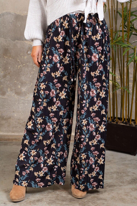 Plisserte bukser - Blomster - Svart