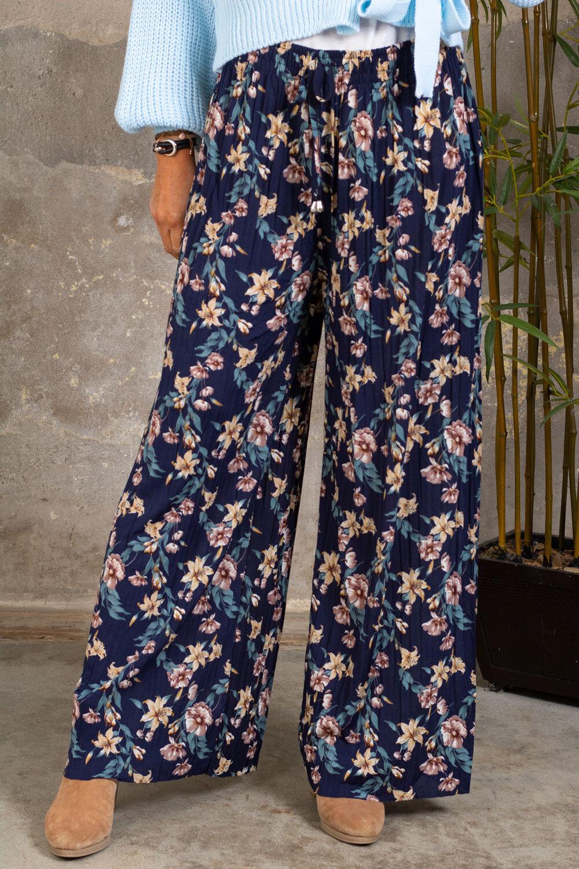 Plisserte bukser - Blomster - Marine