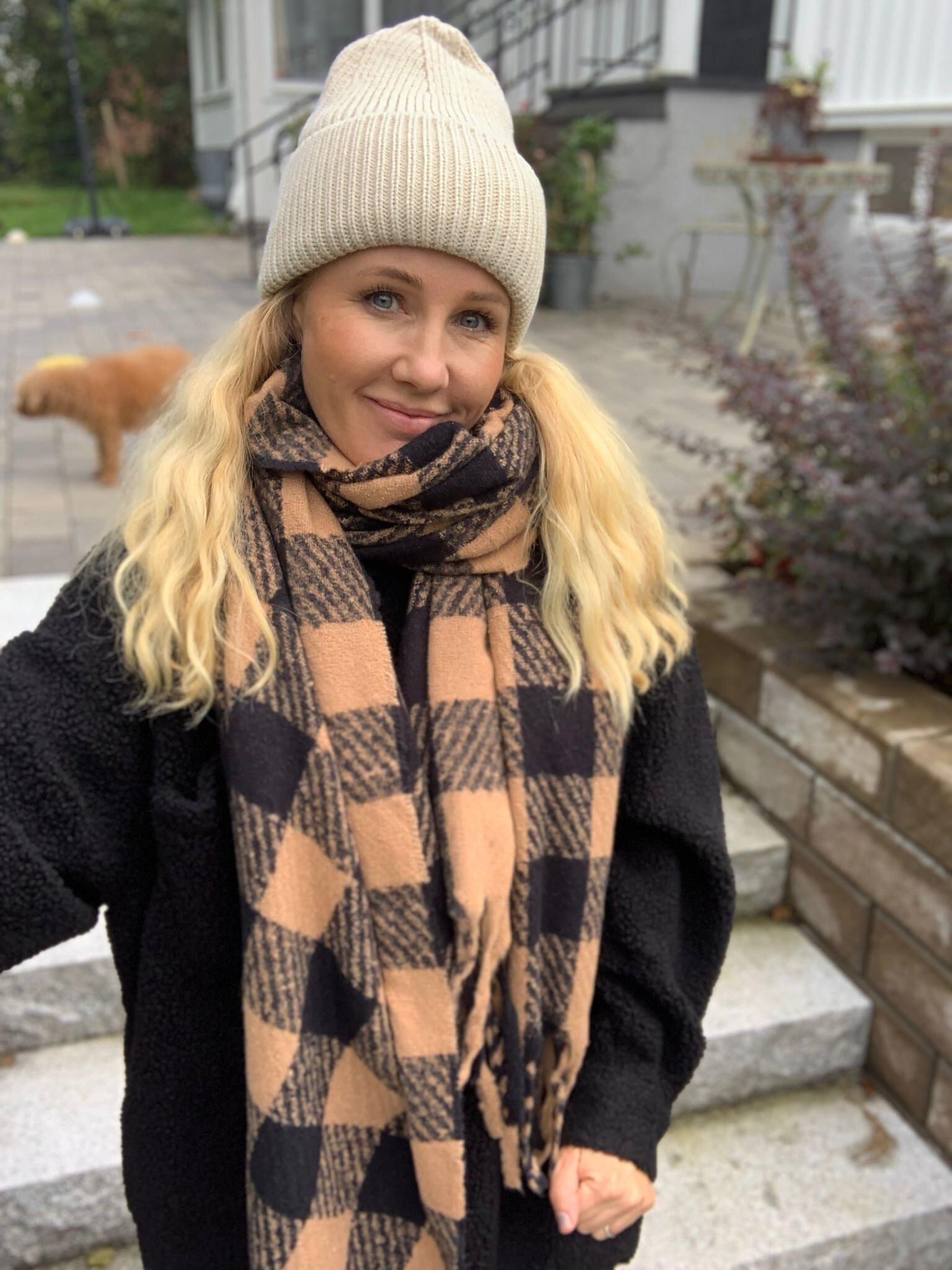 Rutete sjal - Camel/Svart