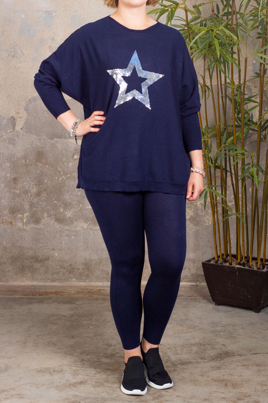 Sally - Strikket sett - Stjerne - Mørke blå