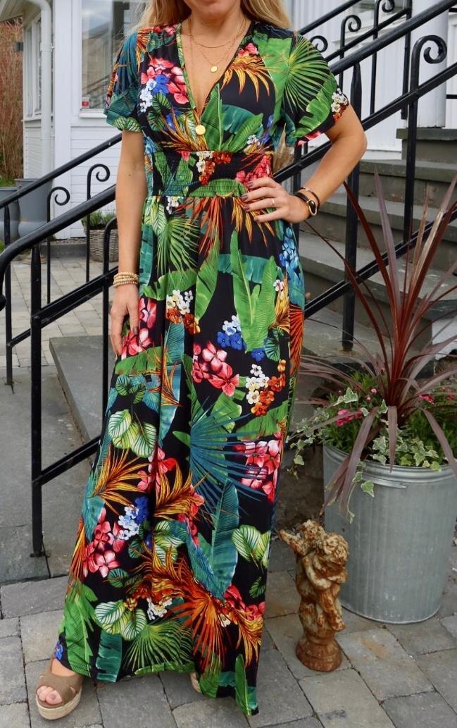 Sheila lang kjole - blader og blomster - Svart