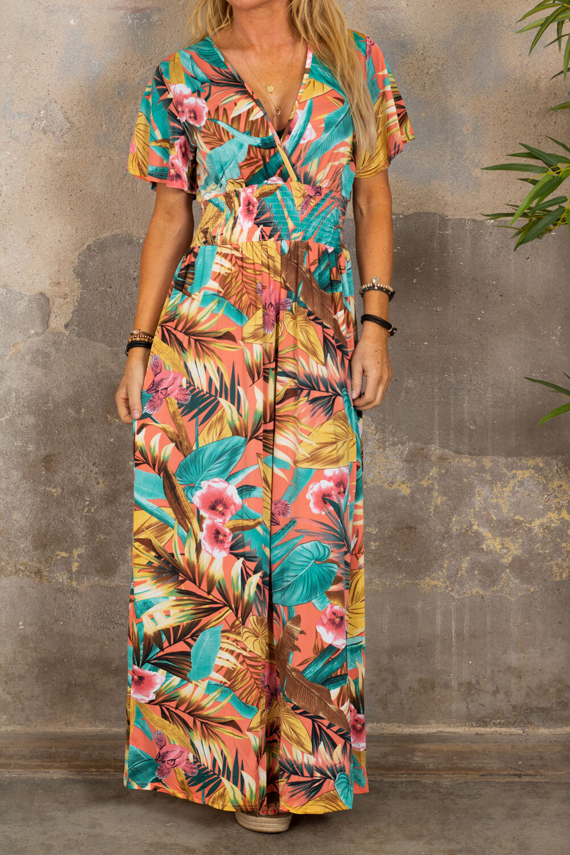 Sheila lang kjole - tropisk - Corall