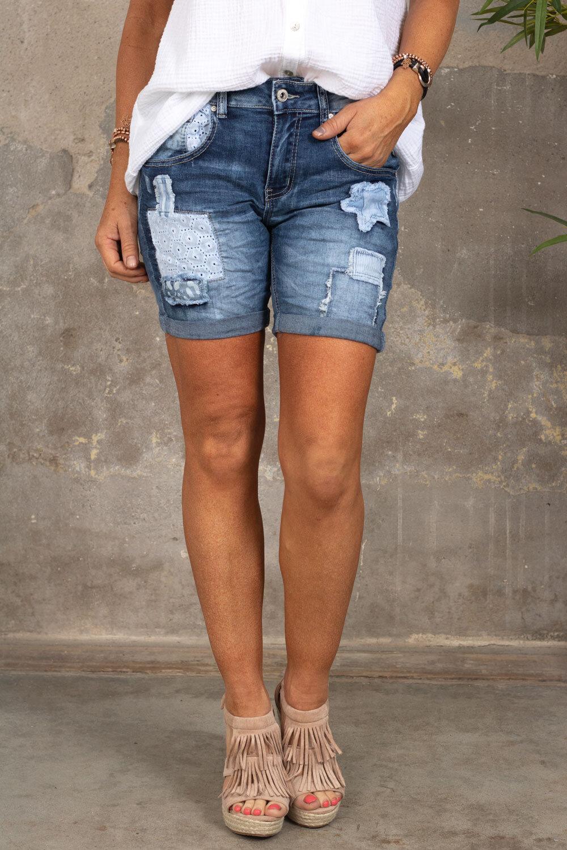Shorts med flekker - 1850 - Denim