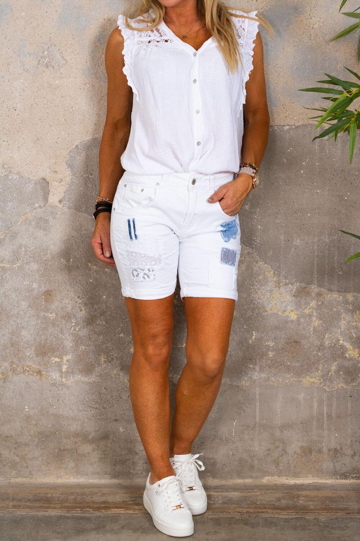 Shorts med flekker - 1850 - Hvit