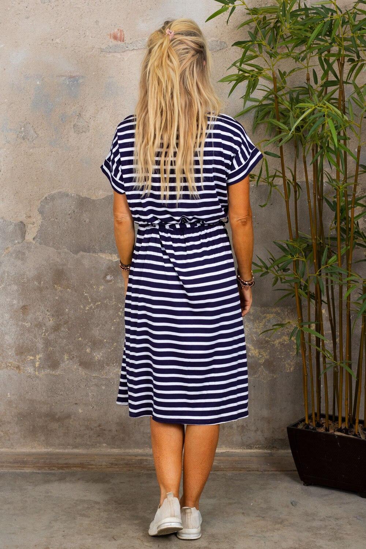 Siv myk kjole - Stripet - Navy