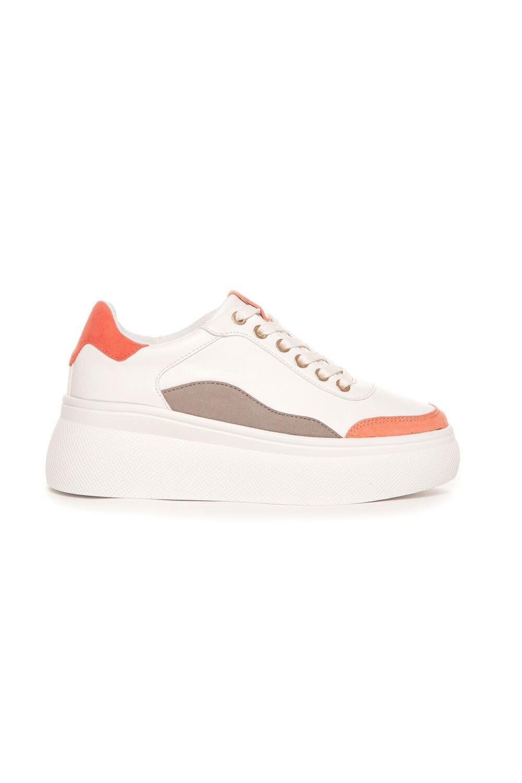 Sneakers Plateau - Hvit/Koral