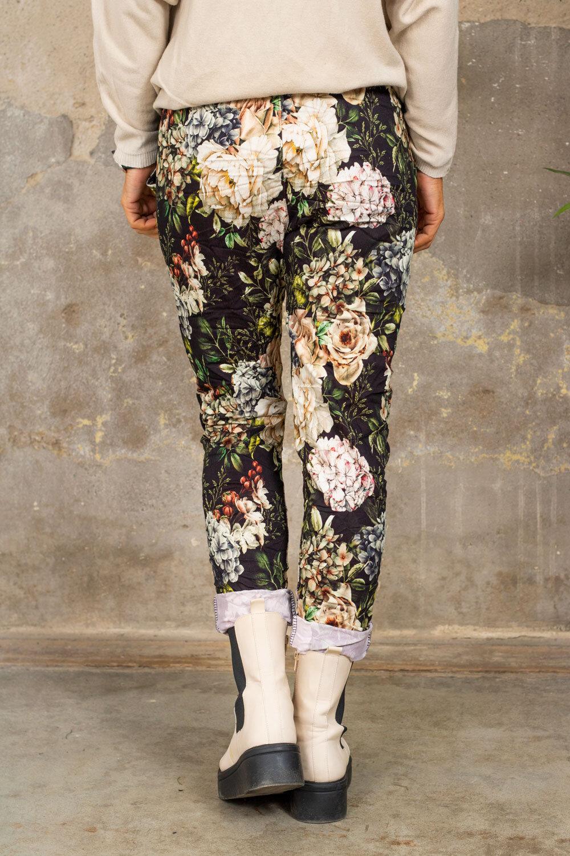 Stretchbukse - Blomster - Svart