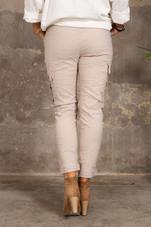 Stretchiga Cargo bukse - Beige
