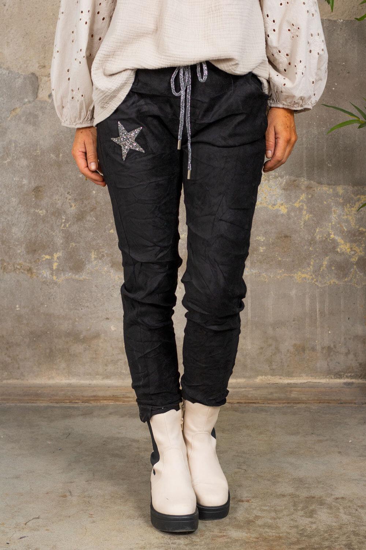 Elastiske bukser 7164 - Bling star - Svart
