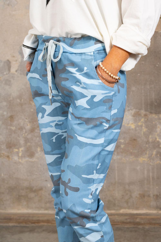 Stretchiga-bukse 3385 - Kamuflasje - Blå