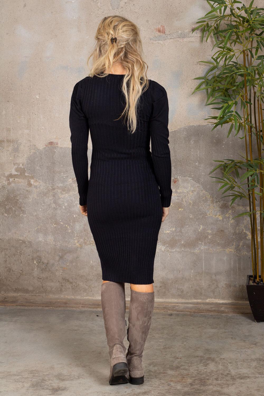 Tamara Strikket kjole - Knapper - Svart
