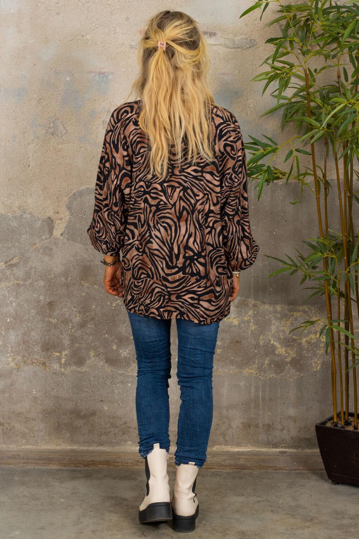 Tammy tunika med V -hals - Mønstret - Camel