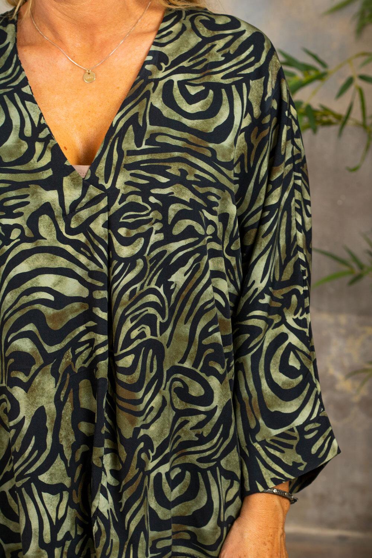 Tammy tunika med V -hals - Mønstret - Khaki