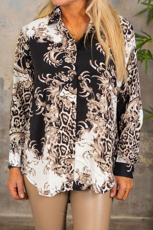 Telly mønstret skjorte - svart / krem