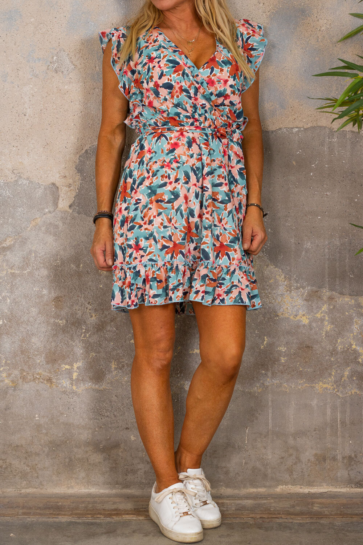 Thea kjole - Flowerpaint - Corall/Khaki