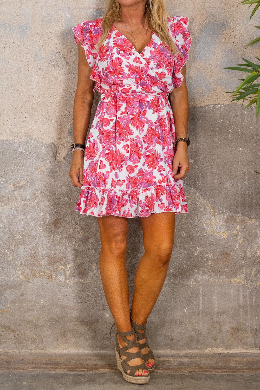 Thea kjole - Flowerpaint - Rosa