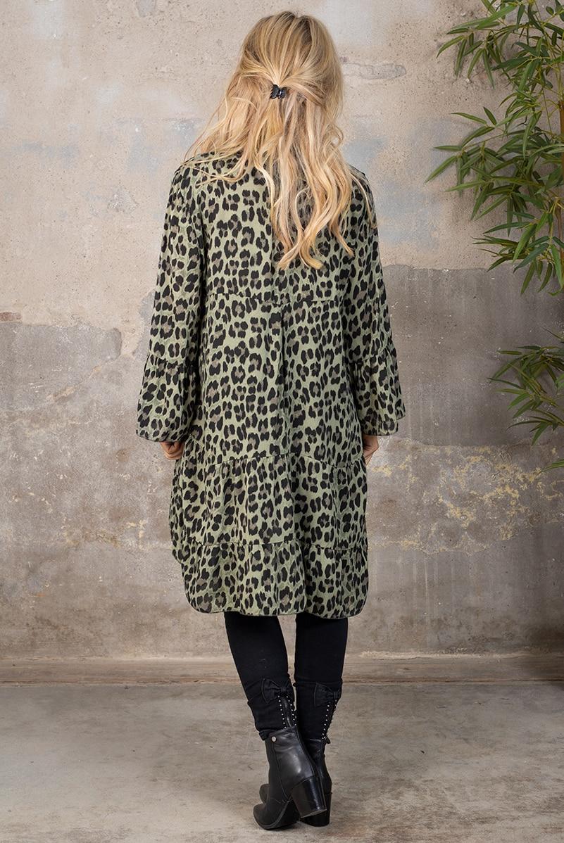 Tiana Langtunika - Leopardmonster Knappar - Khaki bak