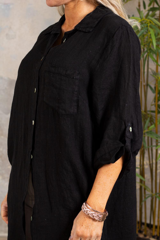 Tilda Lang linskjorte - Svart