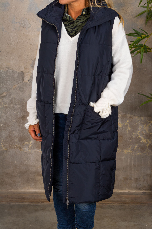 Trixie Vest med lang deksel - Lommer - Navy