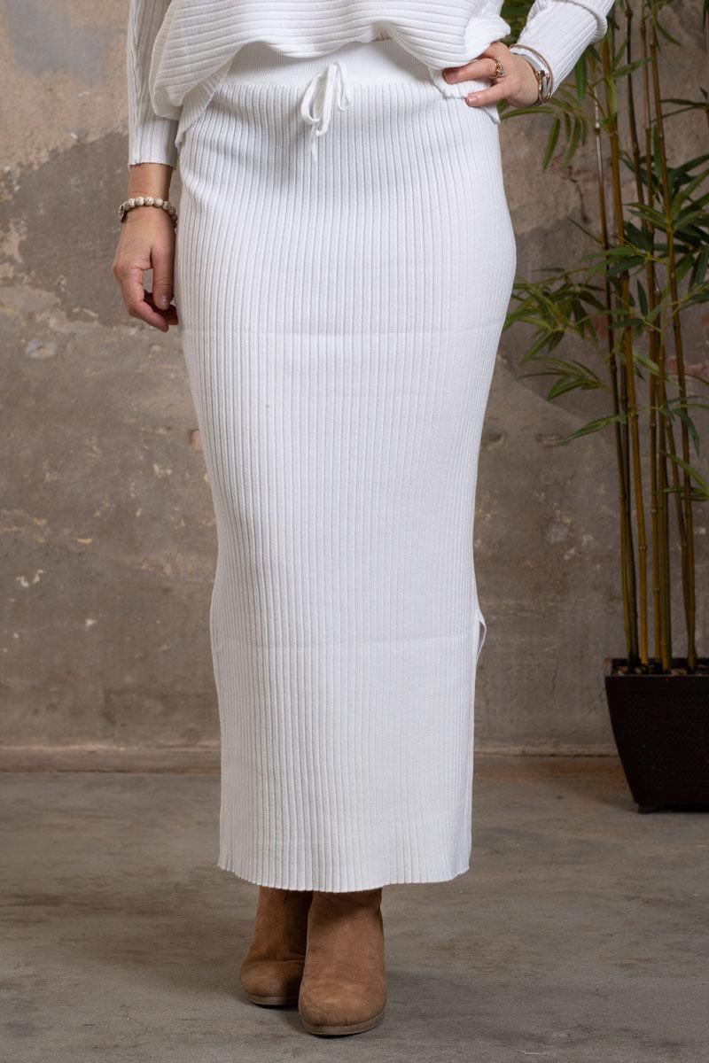 Troja-och-Kjol-set---Ribbad---cream-kjol