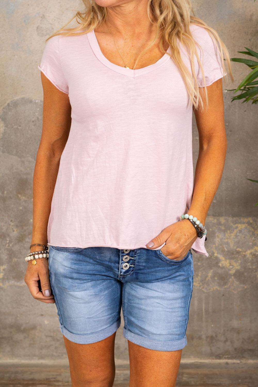 T-skjorte med V-hals - Lyserosa
