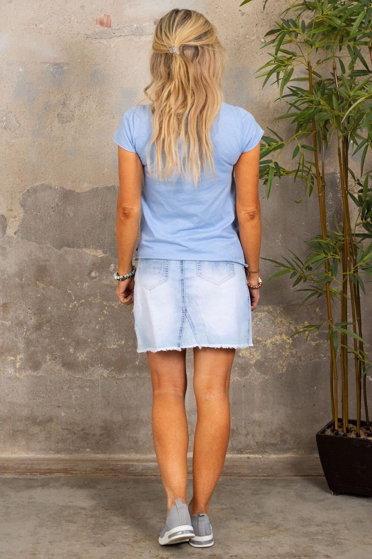T-skjorte med V-hals - Sky blue