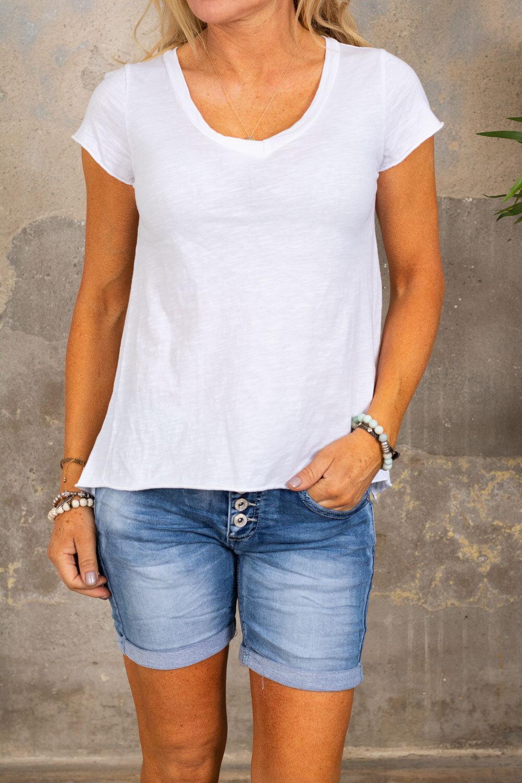 T-skjorte med V-hals - Hvit