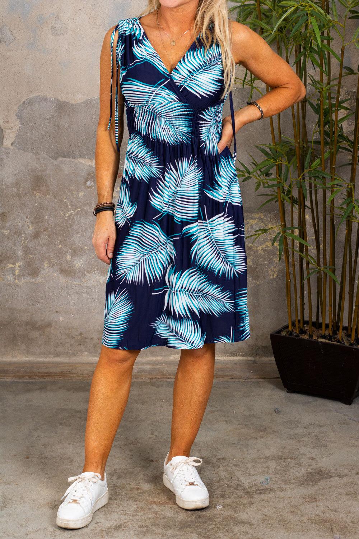 Vanessa - Kort,myk kjole - Bladmønster - Navy/Turkos