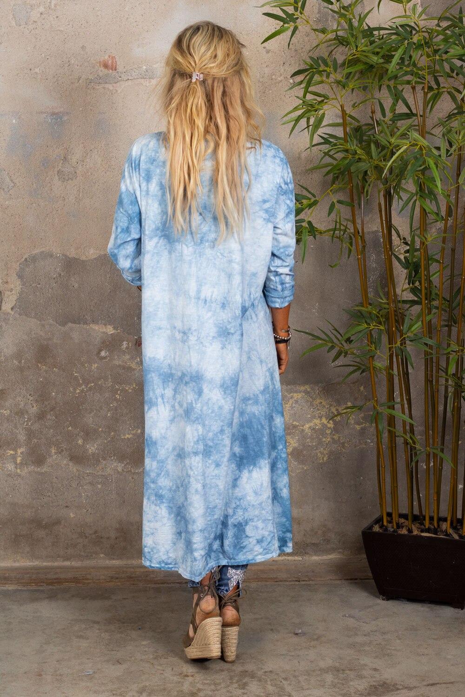 Vendela Long Cardigan - Batik - Blå