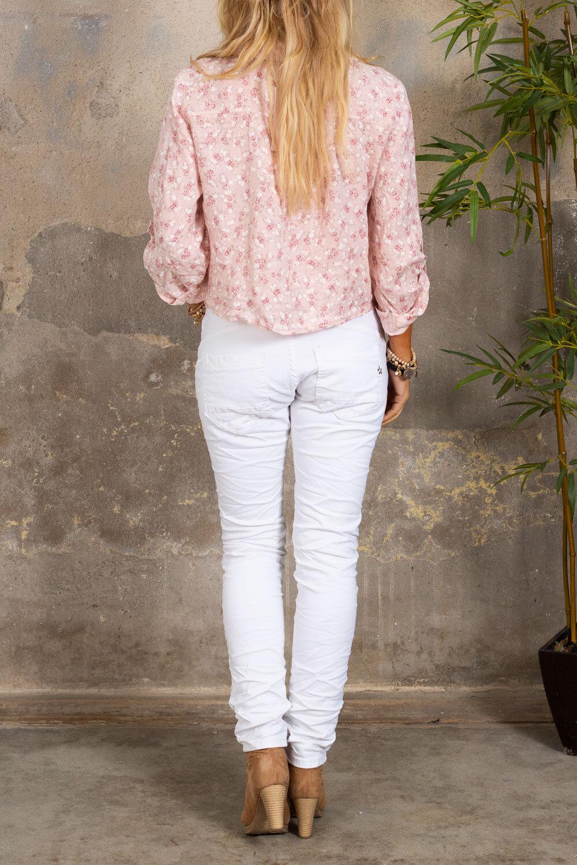 Viola strikke skjorte - lin stoff og blomster - rosa