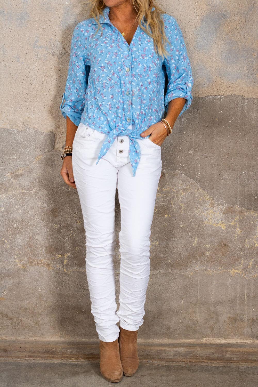 Viola strikke skjorte - lin stoff og blomster - Blå