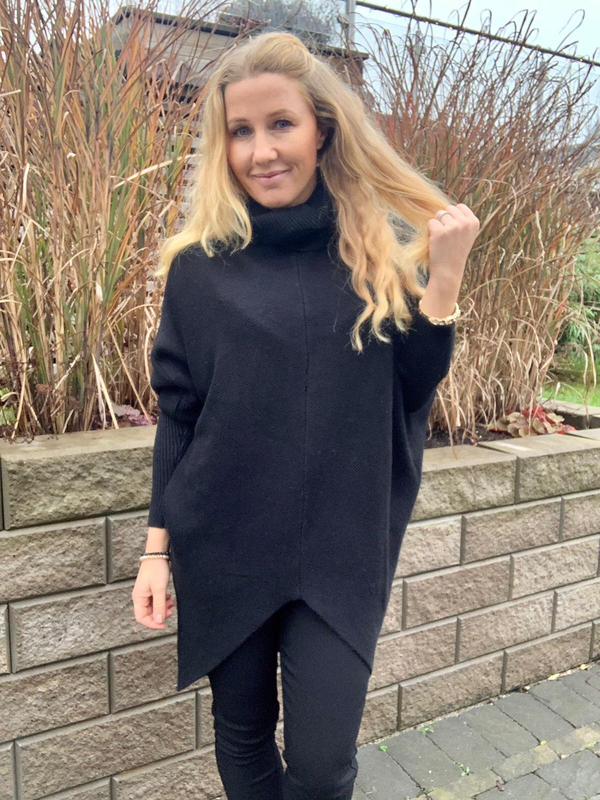 Bonnie - Strikket genser med polokrage - Svart