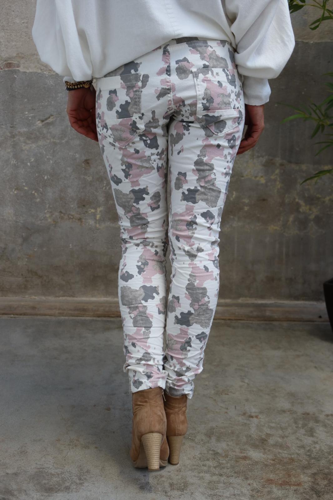 Bukse 90089 - Kamuflasje - Krem/Rosa