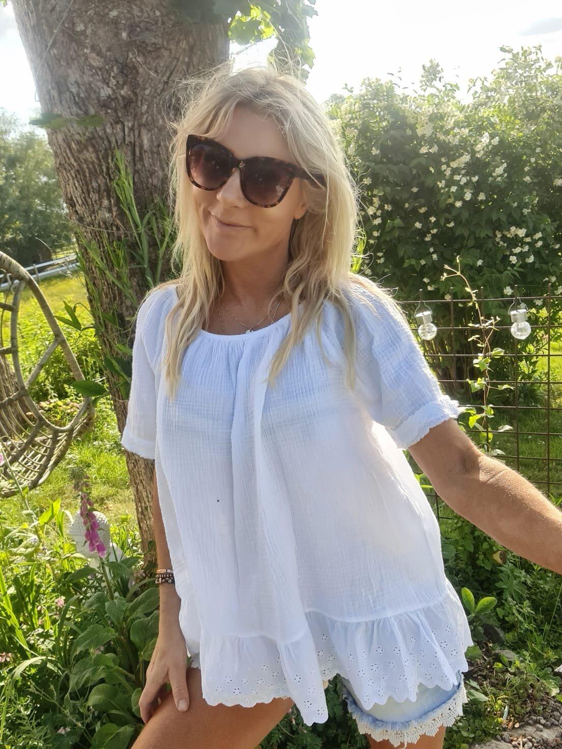 Christa-topp - Blonder og vaffel - Hvit