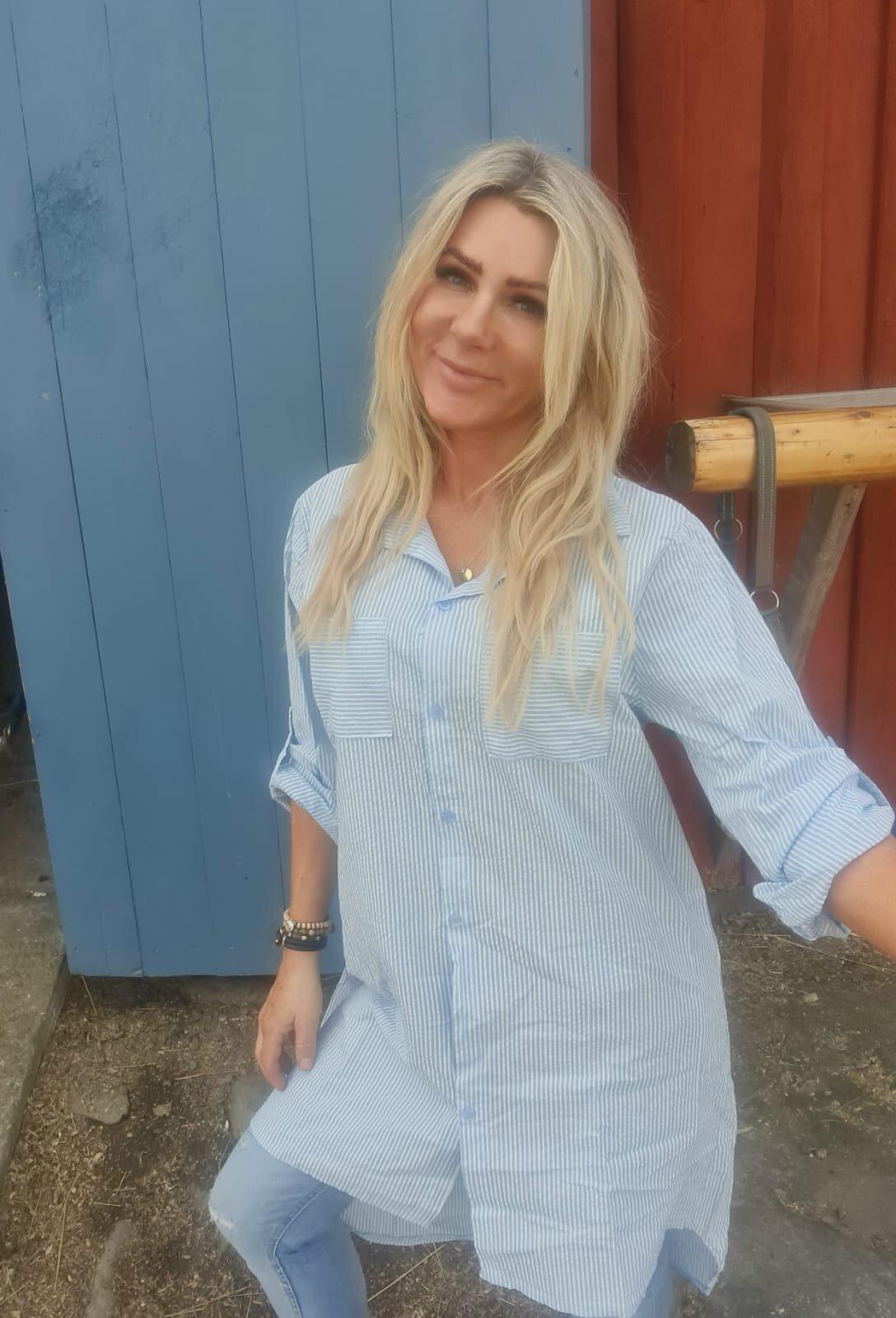 Jackie - Stripet Lang skjorte - Blå