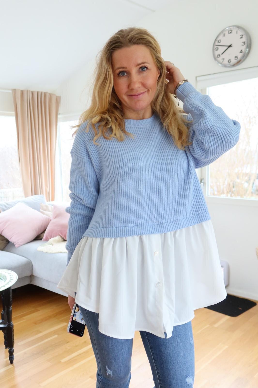 Jenny genser - Skjorte nederst - Blå