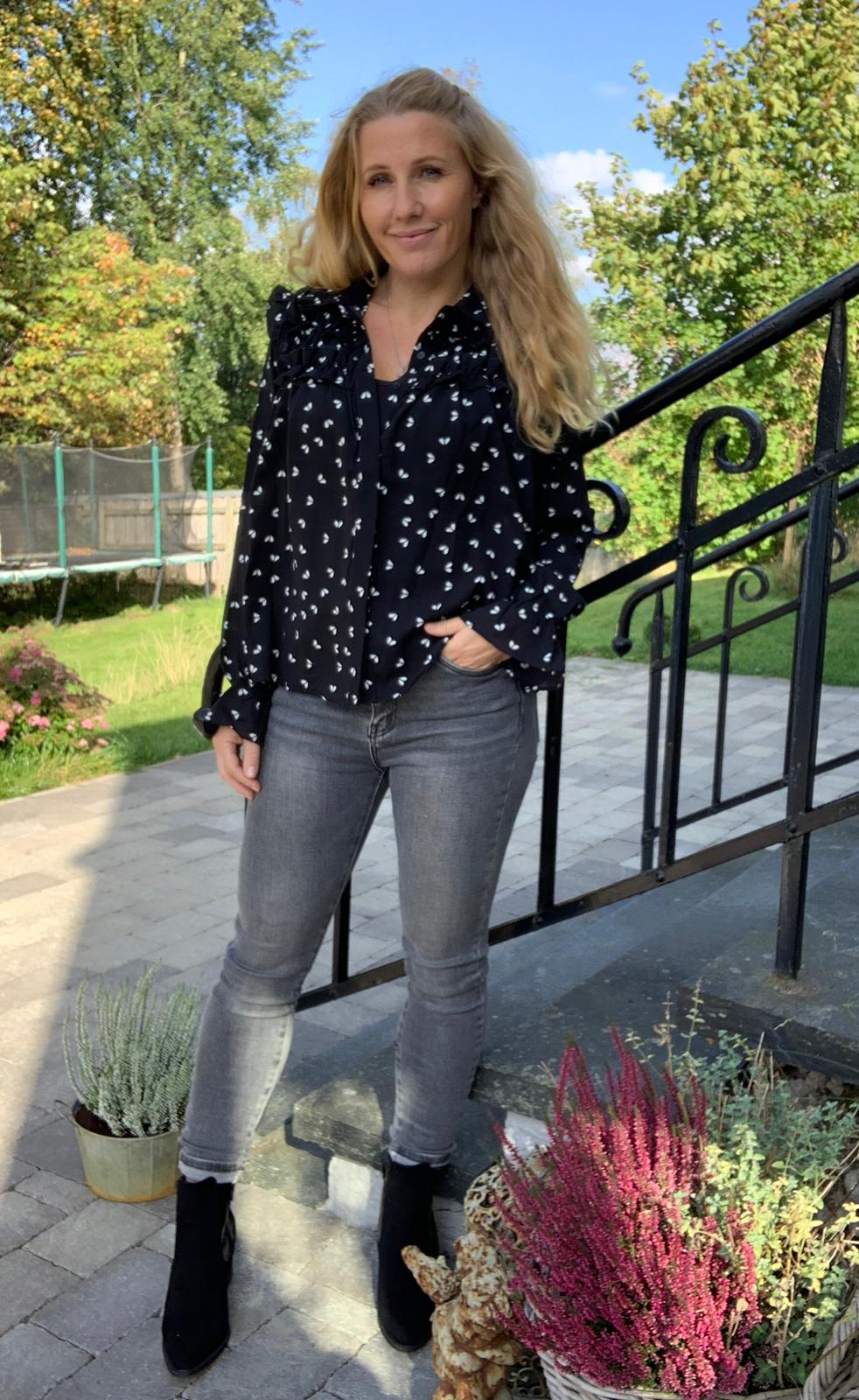 Shannon lang flanell skjorte rutete svart Fanny Michel