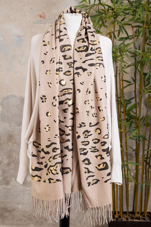 Leopardmønstret sjal - Taupe