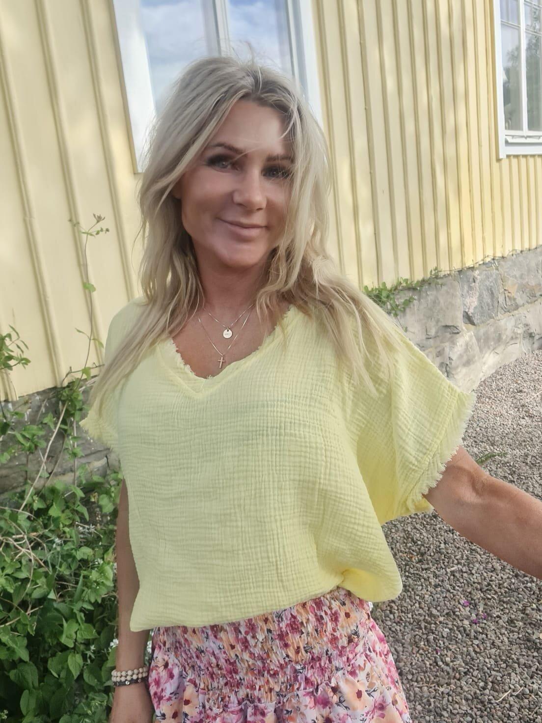 Lola tunika - Rå kanter - Sitron