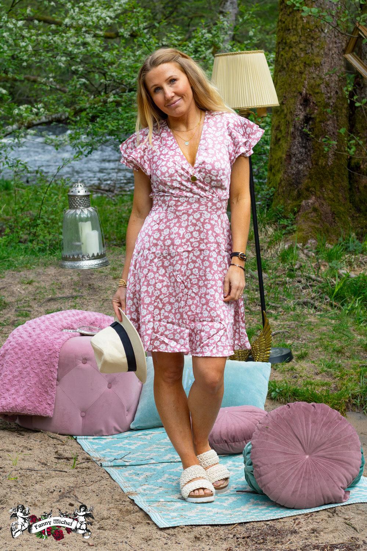 Paloma kjole - Blomster - Rosa