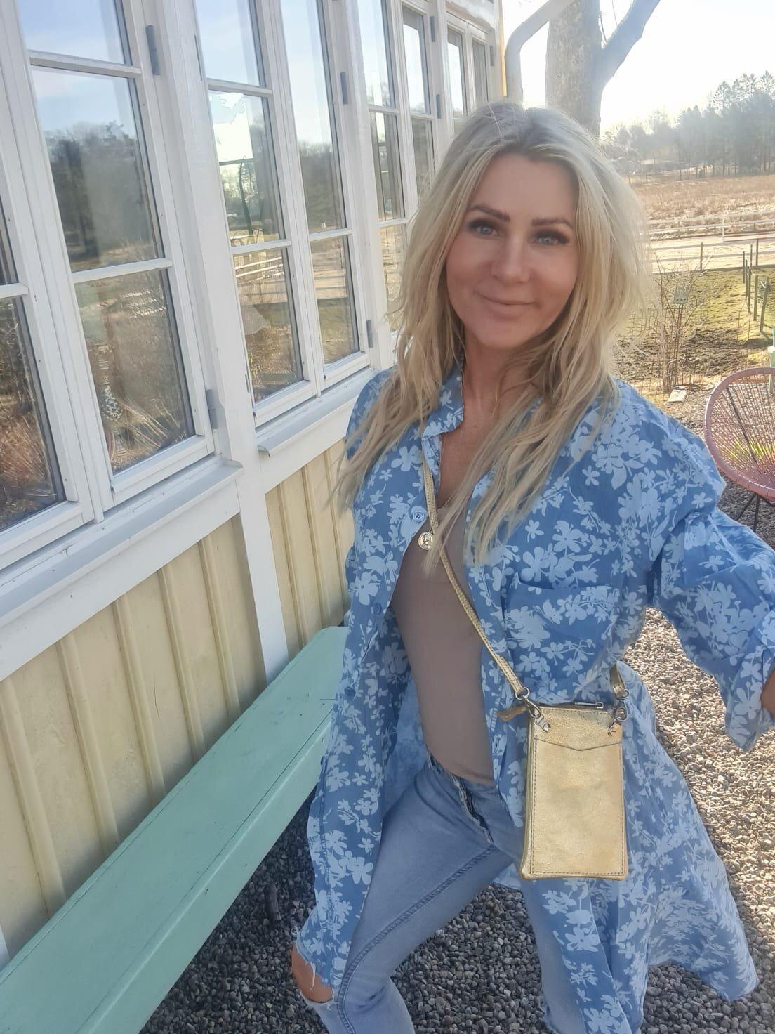 Penny lang skjorte - Blomster - Blå