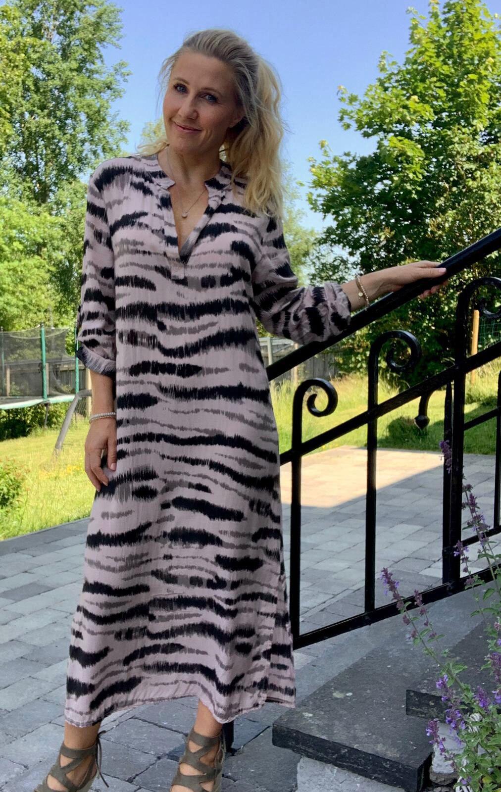 Sandy Lang skjorte / kjole - sebra - Rosa