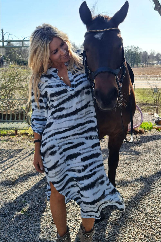 Sandy Lang skjorte / kjole - sebra - Blå