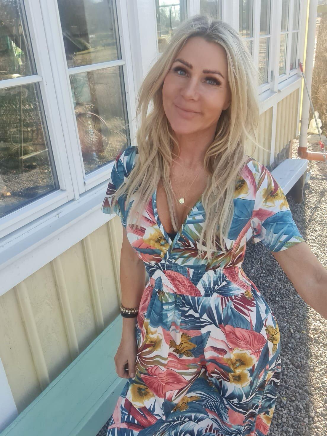 Sheila lang kjole - tropisk - Hvit