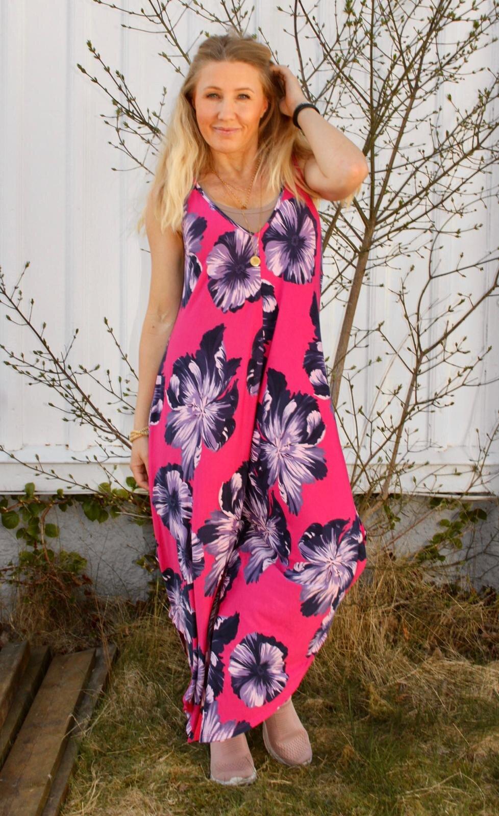 Theodora Jumpsuit - Store blomster - Cerise